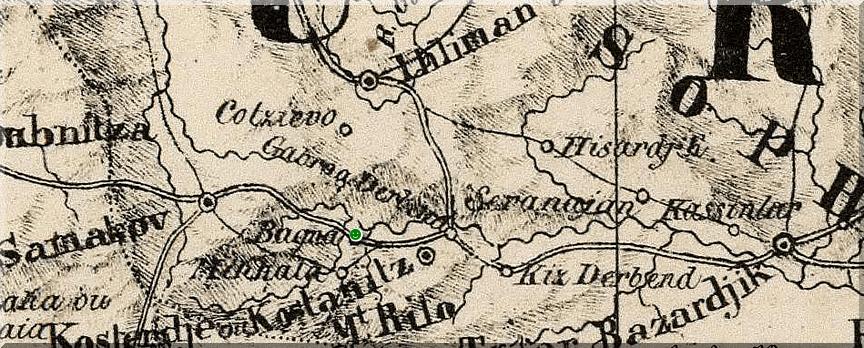 Баня (Долна баня)  в географска картa от 1827 г.  Картограф Филип Вандермелен
